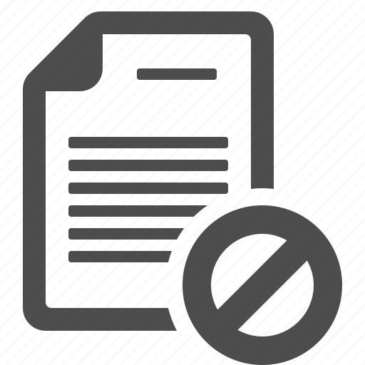 blocked, document, file, page, restricted sign icon