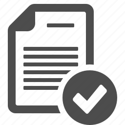 check mark, document, file, page, verified icon