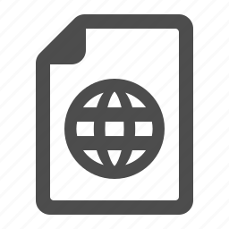 document, file, global, globe, internet, network, page icon