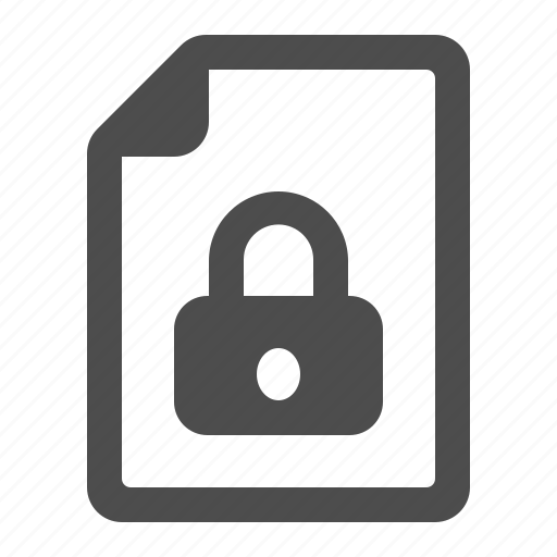 document, file, lock, locked, page icon