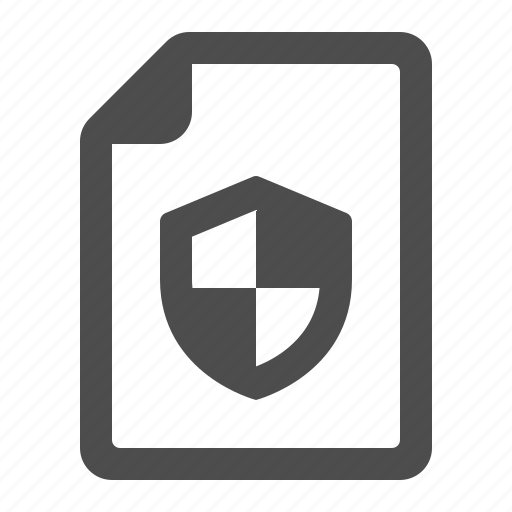 document, file, page, security, shield icon