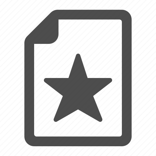 document, favorite, file, page, star icon
