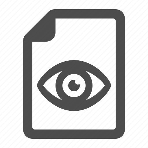 document, eye, file, page, view, views icon