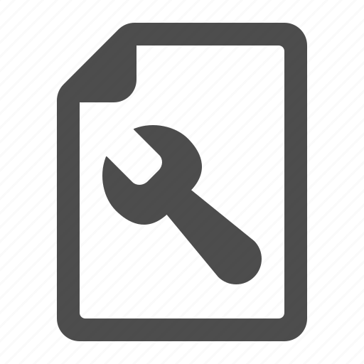 document, file, page, spanner, tool, wrench icon