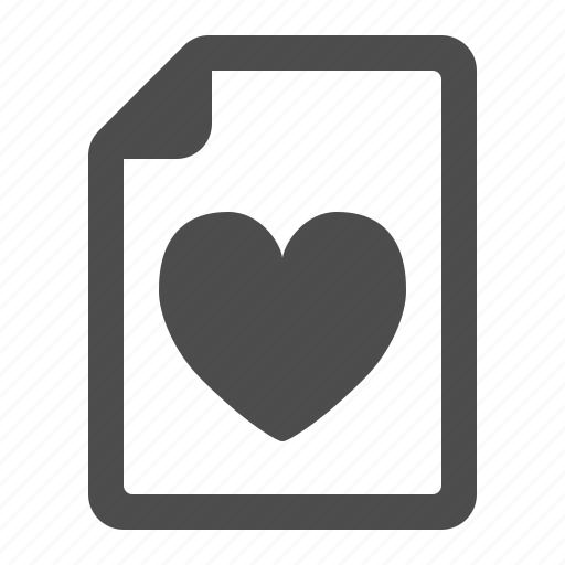 document, file, heart, letter, love, page icon