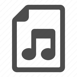 audio, document, file, music note, page icon