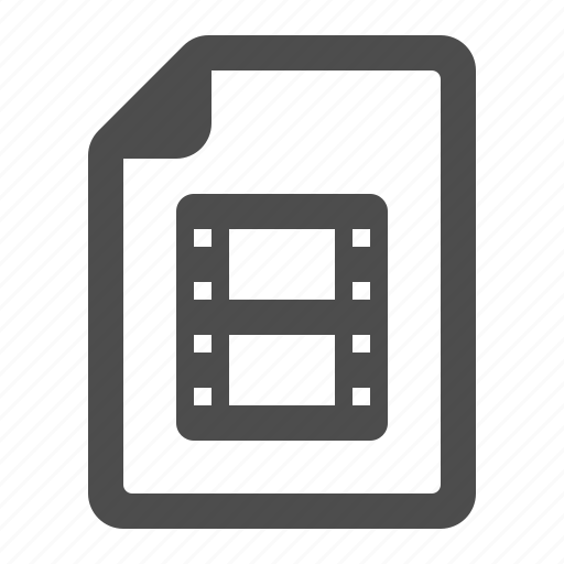 document, extension, file, format, movie, page, video icon