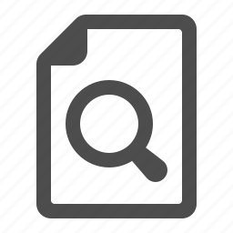 document, file, magnifier, magnifying glass, page icon