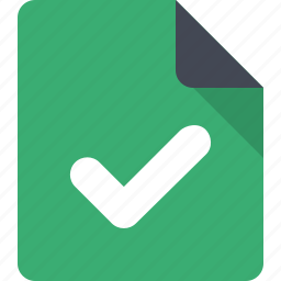 approve, approved, checkmark, document, file, verified, verified file icon