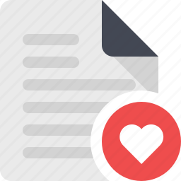 document, favorite, file, heart, page, paper, sheet icon