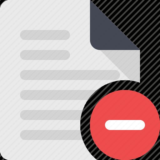 content, document, file, page, paper, remove, remove file icon
