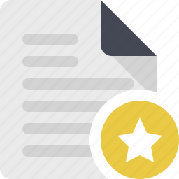 content, document, documents, file, page, paper, starred icon
