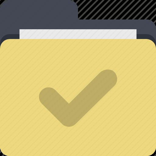 approved, categorized, category, checkmark, documents, folder, verify icon