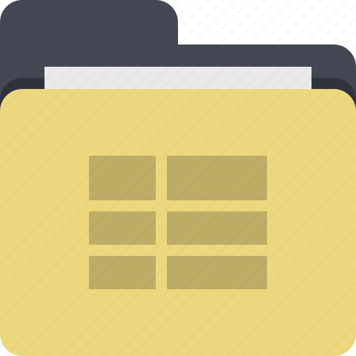 categorized, category, documents, folder, table, tabular data icon