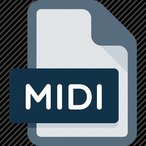 audio, document, extension, file, format, media, midi icon