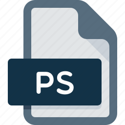 document, extension, file, post script, ps icon
