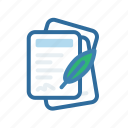 document, extenstion, file, format, ink, paper, quil icon