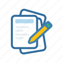 document, extenstion, file, format, paper, pen, pencil icon