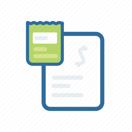 bill, document, extenstion, file, format, paper, ticket icon