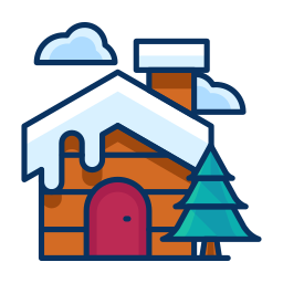 cabin, cloud, house, property, snow, tree, winter icon
