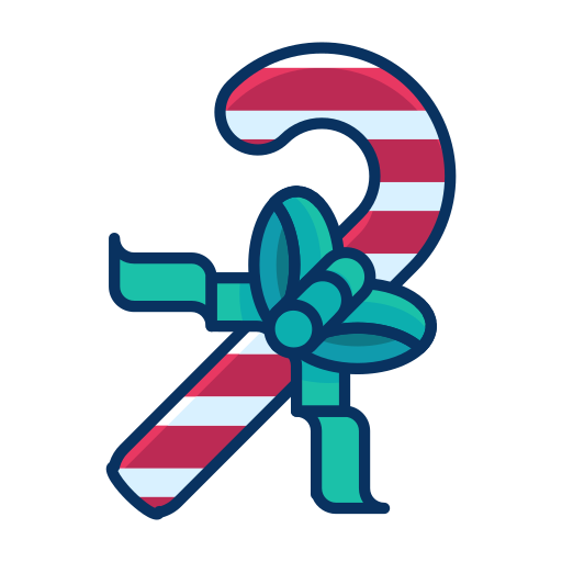 bow, candy, cane, ribbon, sweets icon