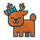 reindeer, deer, forest, animal, happy icon