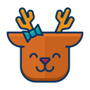 deer, emoji, emoticon, happy, reindeer, smile icon