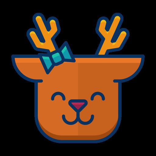 deer, emoji, emoticon, happy, reindeer, smile icon