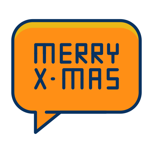 bubble, christmas, merry, message, speech, text icon