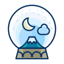 cloud, decorate, decoration, moon, mountain, snowglobe icon