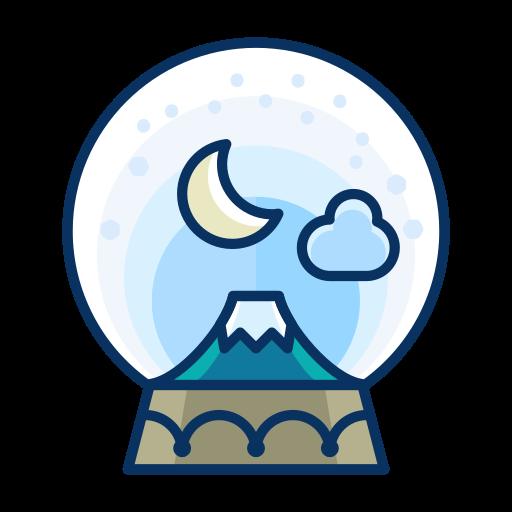 cloud, decorate, decoration, moon, mountain, snowglobe icon