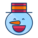 emoji, emoticon, happy, man, smile, snow, snowman icon