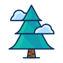 christmas, cloud, forest, pine, tree icon