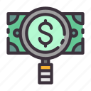 banking, check, dollar, finance, income, magnifier, money icon