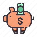 business, dollar, finance, income, money, piggy bank icon