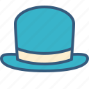 accessory, bowler, clothing, fashion, hat, man icon