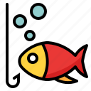 bait, bubble, fish, fishing, hobby, water icon