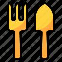 fork, gardening, hobby, spoon, trowel