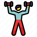 hobby, lift, muscle, training, weight icon