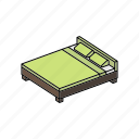 bed, double, furniture, home, hut, interior, sleep icon