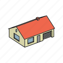 apartment, architecture, building, garage, home, house, with icon