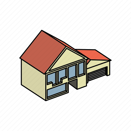 architecture, building, floors, garage, home, house, with icon