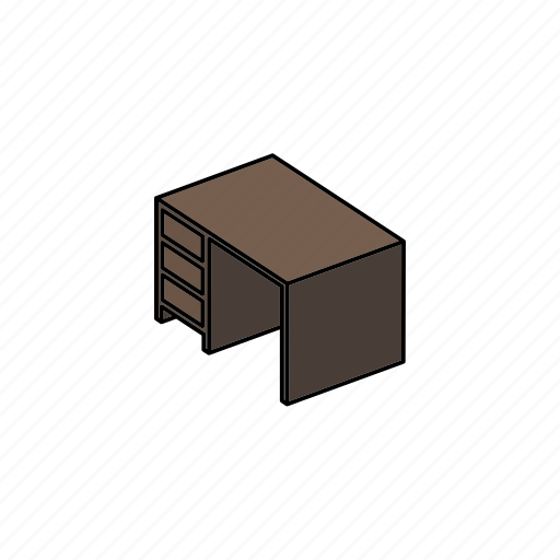 desk, furniture, interior, office, table, writing icon