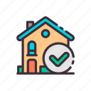 add, building, buy, check mark, home, house, real estate