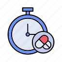 medicine, reminder, stopwatch icon