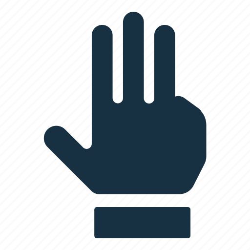fingers, gesture, hand, interaction, swipe, three, touch icon