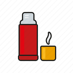 bottle, camping, coffee, equipment, outdoors, thermos, trekking icon