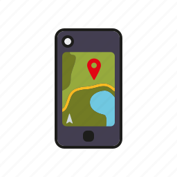 camping, equipment, geo caching, navigation, outdoors, smart phone, trekking icon