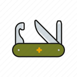 camping, equipment, outdoors, tool, trekking, utility knife icon