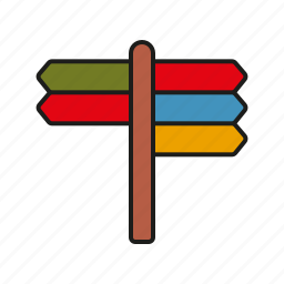 camping, directions, outdoors, road signs, signpost, trekking icon